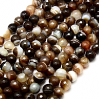15 Inch Brown Agate 6mm Facet Round Beads